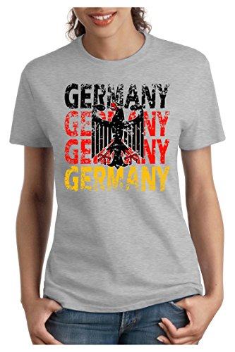 ... SOCCER SPORT TRIKOT EUROPAMEISTER, S - XXL Grau Meliert. OM3 - GERMANY  - Damen T-Shirt tailliert - DEUTSCHLAND EM 2016 FRANKREICH FRANCE FUSSBALL