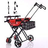 Passeggino gemellare per bambini, passeggino pieghevole leggero, carrello doppio sedile con portaombrelli e cuscino, recinzione e braccioli per impedire il rollover - per bambino di 1-5 anni