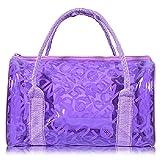 Hugestore - Borsa a secchiello da spiaggia in PVC trasparente impermeabile, portaoggetti o borsa nuoto. Borse shopper Purple