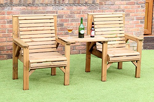 WOODEN GARDEN FURNITURE PATIO TWIN SET 2 CHAIRS + REMOVABLE TRAY JACK + JILL STRAIGHT LOVE SEAT