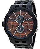 Rip Curl D24 Men's Stainless Steel Watch 24-Hour Time Black with Wood Dial