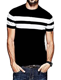 Veirdo Men's Cotton T-Shirt Black With White Strip Casual T-Shirts