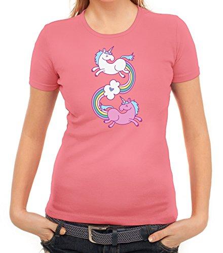 Einhorn Damen T-Shirt mit Unicorns In Love von ShirtStreet Rosa