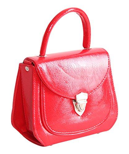 Jonna Rockabilly Schnallen Rot SugarShock 60er Handtasche vintage style Koffer retro Lack PTnnxdwqzR