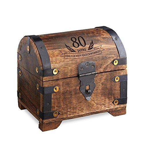 Casa Vivente - Geld-Schatztruhe zum 80. Geburtstag mit Gravur - Dunkel - Bauernkasse - Schmuckkästchen - Spardose - Aufbewahrungsbox aus Holz - lustige und originelle Geburtstagsgeschenk-Idee - 14 cm x 11 cm x 13 cm (Aufbewahrungsbox Für Geld)