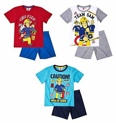 Feuerwehrmann Sam Jungen Pyjama Schlafanzug Shorty 2016 Kollektion - blau (110)