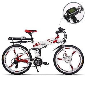 Jimai Rt-860Mans Vélo électrique pliable, hybride de montagne VTT Vélo double Suspension, 250W 36V 21vitesses, avec pied Vélo Pompe à air, d'un ensemble d'outils, une pièce Outil de montage et Smart Compteur de vitesse Compteur de vélo