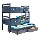Ye Perfect Choice TRIPLE BUNK BED Dominic 3 Modern High Bed DRAWERS Ladder 3 children TRUNDLE Bed 2 sizes