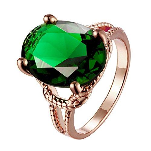 ACMEDE - Bague Ovale Créé Emeraude Topaze Vert pour Femme en Argent Plaqué Or Rose