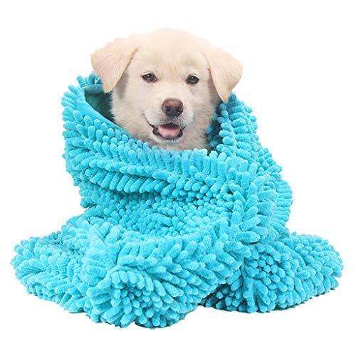 Ultraabsorbierende Mikrofaser Chenille Hundetür Matte Große Handtuch PET Absorbierende Hand Tuch Katze Teddy Golden Retriever Bad Supplies (Blau) 3 Größen,L