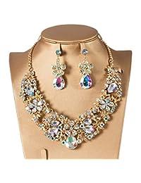9aaca6459315 LINDANIG Collar de Cristal Rojo Pendientes Collar Verde Juego Collar de Moda  de Dos Piezas para