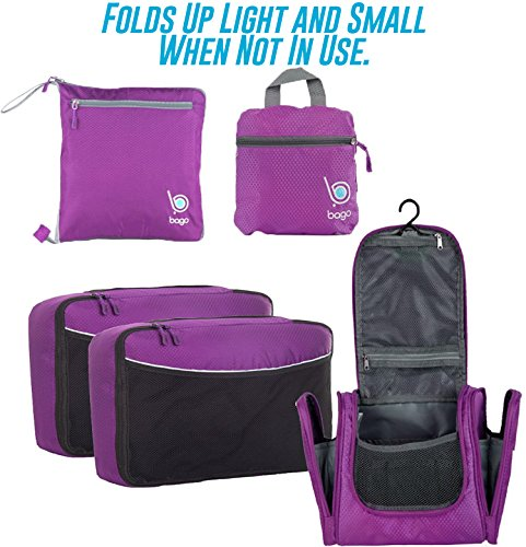 Lightweight Family Travel Set - All the Luggage and Packing Accessories you need (Purple)