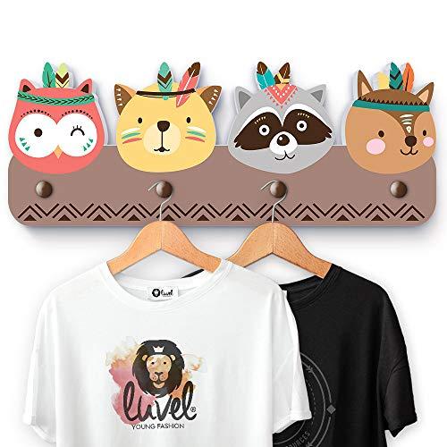 Luvel - (G1) Kindergarderobe mit 4 Haken, viele Motive, Maße ca.: 40 x 15 x 1 cm, Wandgarderobe, Kleiderhaken, Wandhaken, Kindermöbel, Garderobenhaken, Kinderzimmer (Indianer farbig)