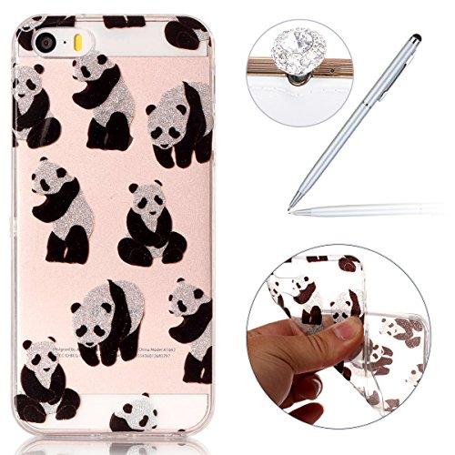 Felfy Housse iPhone 5S,iPhone 5S Coque Transparente Souple,iPhone SE Case Bumper Transparent en Silicone Ultra Slim Mince en Caoutchouc Souple Gel Coque Coquille Couverture Papillon Pastèque Citron Mo Panda