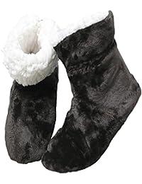 Pantoufles Type Femme Botte Dunlop Farrah, Bordée De Cheveux Synthétiques, Juste Style Design Île, La Taille 36 À 42,5, Brun, Taille M