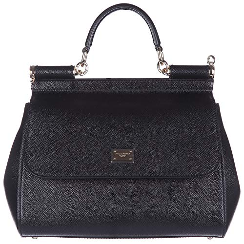 Gabbana Leder Handtasche Schwarz (Handtasche Dolce&Gabbana Damen Leder Schwarz und Gold BB6002A100180999 Schwarz 10x20x25 cmEU)