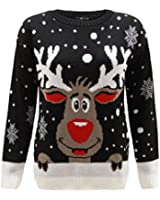 Kids Unisex Reindeer Snow Flakes Christmas Novelty Knitted Sweater Jumper