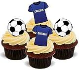 CHELSEA FUßBALL MISCHUNG - 12 essbare hochwertige stehende Waffeln Kuchen Toppers - FOOTBALL MIX CHELSEA