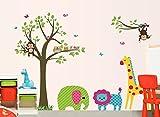 ufengke® Große Bunte Baum-Und Cartoon-Tier- Wandsticker, Schöne Elefant Löwe Giraffe Affen,Kinderzimmer Babyzimmer Entfernbare Wandtattoos Wandbilder