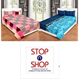 STOP N SHOP Super Home Grace Cotton Combo Set Of 2 King Size Double Bedsheet With 4 Pillow Covers