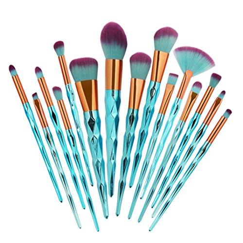 Mermaid Lot de pinceaux à maquillage, 15 pièces, Pour fond de teint, fard à paupières, contour des yeux et des lèvres