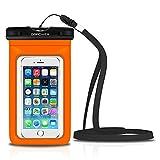 DBPOWER Custodia Impermeabile per Apple iPhone 4/4s/5/5s/6/6s/6plus/6s plus,Samsung Galaxy s3/s4/s5 ecc.,Protezione contro Polvere e Sporco,Custodia Antineve per Cellulari Fino a 6 Pollici(Arancione)
