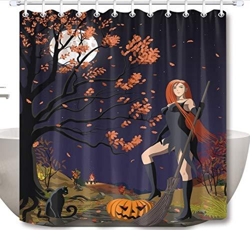 Halloween Rothaarige Hexe Kürbis Und Schwarze Katze Wasserdichtes Gewebe 12 Haken 200(w) x180(h) cm ()