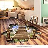 KUANGJING AbnehmbareWand Sticker3D Zugbrücke Boden Aufkleber 60 * 90 cm Wandaufkleber Holzbrücke Wohnkultur Vinyl Wandtattoos Adesivo De Parede
