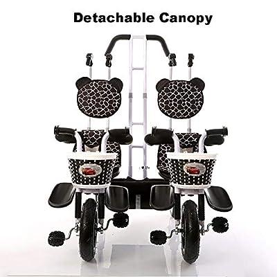 Doble triciclo infantil Ligero cochecito de bebé doble para bicicleta de 2 asientos con dosel desmontable, seguro y cómodo para niños de 6 a 4 años de edad