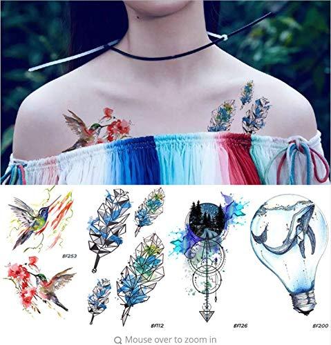 ruofengpuzi Bunte Vögel Hummer Geometrie Feder Temporäre Tätowierung Aufkleber Frauen Flash wasserdichte Tattoo Body Art Zeichnung 3D Tätowierung Gefälschte