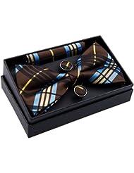 Tissé élégant carreaux tartan Plaid pre-tied Nœud Papillon (12,7cm) W/Pocket Square & boutons de manchette Set cadeau