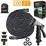 Expandable Garden Hose pipe 100ft Green Water Hose 8 Function Spray with 1""