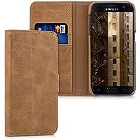 kalibri Leder Hülle James für Samsung Galaxy S7 - Echtleder Schutzhülle Wallet Case Style mit Karten-Fächern in Cognac