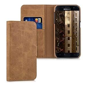 """kalibri Cover in pelle """"James"""" per Samsung Galaxy S7 - cover protettiva custodia stile portafoglio in vera pelle con scompartimenti per tessere castagno"""