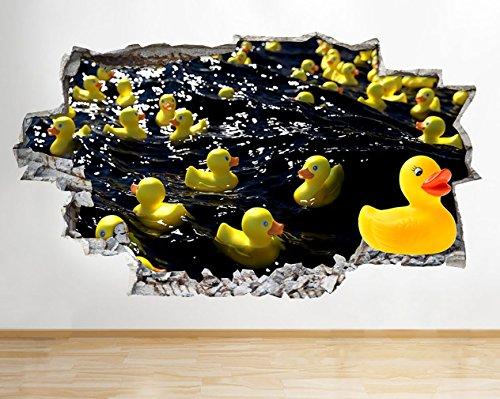 F460Gummi Enten Wasser Badezimmer zerstörten Wand Aufkleber 3D Kunst Aufkleber Vinyl Raum (Badezimmer Kunstwerke Mit Enten)