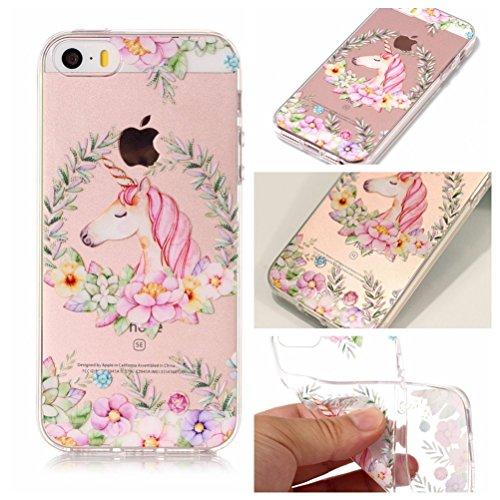 iPhone 5S Hülle, Voguecase Silikon Schutzhülle / Case / Cover / Hülle / TPU Gel Skin für Apple iPhone 5 5G 5S SE(Rose Traumfänger) + Gratis Universal Eingabestift Einhorn und Blume 01