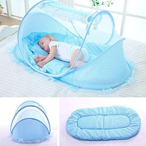 Faltbar Baby Travel Krippe mit Moskitonetz Baby Reisebett tragbar Baby Kinderbett Moskitonetz tragbar Babybetten für 0-3 Jahre Baby (blau) (Tasche Bett + Bug Matratze)