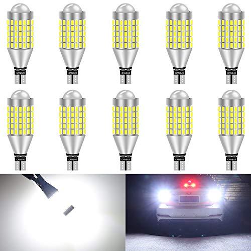 KaTur T15 T10 912 921 Ampoule à LED 900 Ampoules 3014 Ampoule 78SMD à LEDs pour feu Stop Clignotant feu arrière feu de recul, Blanc Xenon (Paquet de 10)
