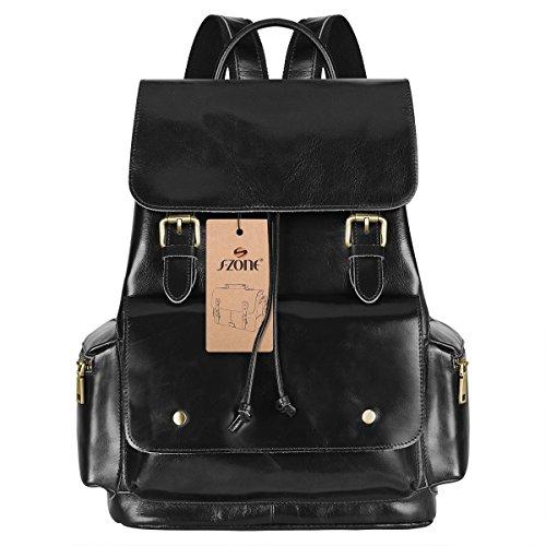 S-ZONE Vintage Echtes Leder Rucksack Reisen Schule Rucksack für Damen und Herren (schwarz)