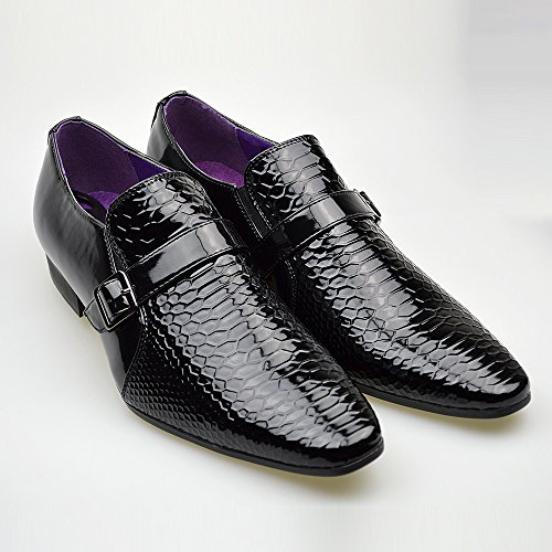 Herren Neue Freizeit Braunes Leder Smart Formaler Schnallenschuhe UK GRÖßE 6 7 8 9 10 11 Schwarz 2
