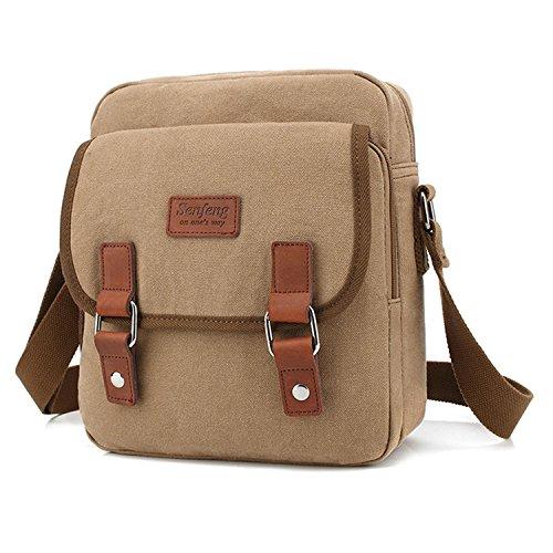 MeCooler Vintage Taschen Kleine Umhängetasche Herren Kuriertasche Canvas Schultertasche Herrentaschen Messenger Bag für Tablet Schule Sport Tasche Reisen Reisetaschen Beige
