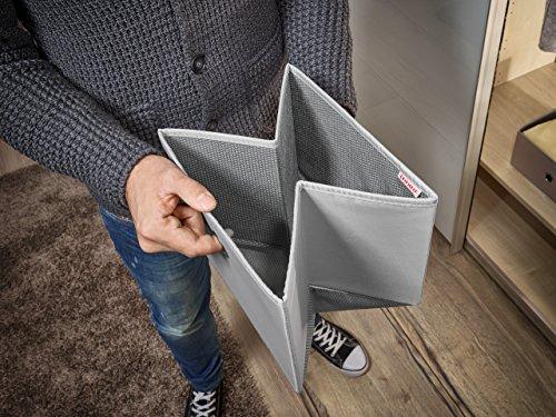 Leifheit 80008 Caja Pequeña, Tela, Gris, 15 x 28 x 5 cm, 2 Unidades