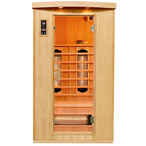 Artsauna Infrarotkabine Halmstad mit Vollspektrumstrahler | 2 Personen Kabine aus Hemlock Holz | 110 x 100 cm | Infrarotsauna Infrarot Wärmekabine