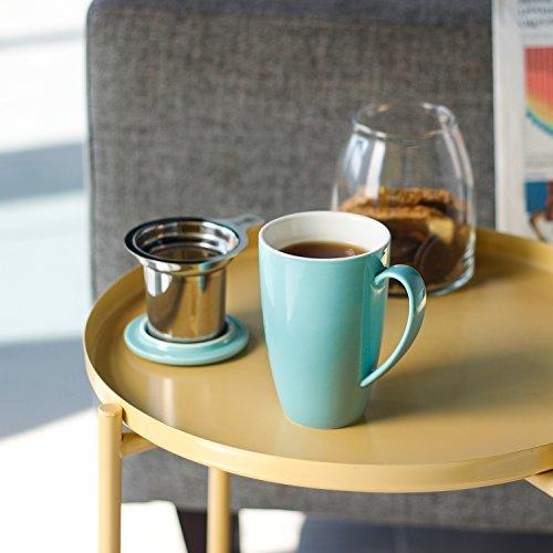Taza Sweese de cerámica/porcelanacon tapa y filtro para té, de acero inoxidable (400ml), acero inoxidable, Turquesa
