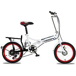 XQ 1615URE Bicicleta Plegable de 16 Pulgadas Adultos Bicicleta Plegable de 6 Velocidades Variables Ultraligero Amortiguación Hombres y Mujeres Estudiante Bicicleta Infantil (Color : #1)