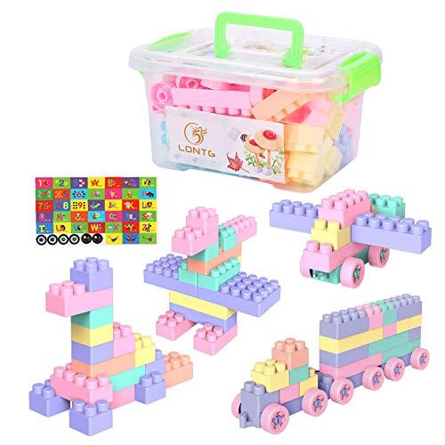 LONTG Bausteine groß 75/150 Stücke für Baby Kinder Mädchen Jungen Bauklötze Kunststoff pädagogische Bausteine Intelligenz Kreative Lernspielzeug Puzzle Steckbausteine mit Aufwahrungsbox ALS Geschenk