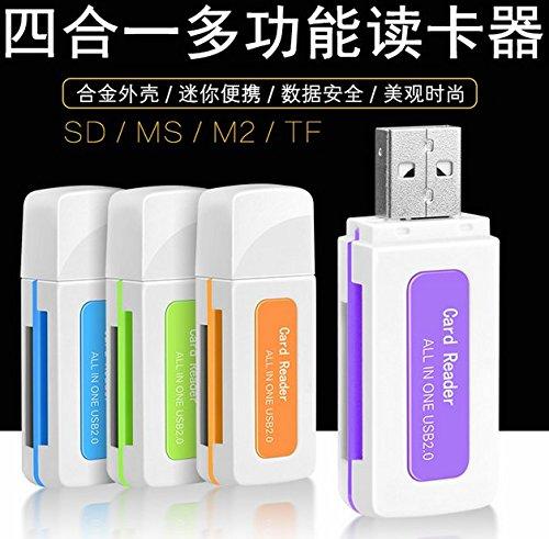 Usb 4-1-SD TF 2 MS Reader Digital Kamera Handy memory card reader, USB2.0, grün - 1 Digital Kamera, Card Reader