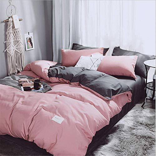 SHJIA einfarbig Bettbezug ausgestattet ägyptischer Baumwolle Premium Ultra Soft Bettwäsche Set Königin King Size E 180x220cm