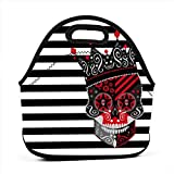 King Skull Icon Abstract Multifunctional Portable Bento Bag,Lunch Box Bag For School Travel Work Office