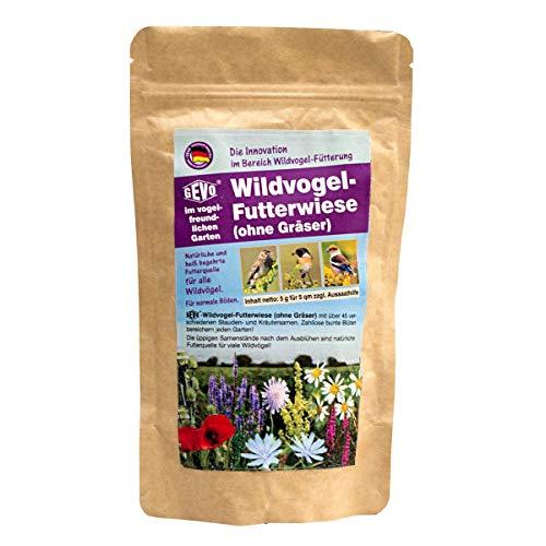 Gevo® Wildvogel-Futterwiese | Nahrungsquelle für Wild- und Singvögel | viele Blumen mit wichtigen Samen | 5 g